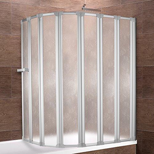 faltbare duschwand fuer badewanne Schulte Duschwand Bien inkl. Handtuchhalter, 159x140 cm, 7-teilig faltbar, Kunstglas Tropfen-Dekor, Profilfarbe alu-natur, Duschabtrennung für Badewanne und Eckwanne