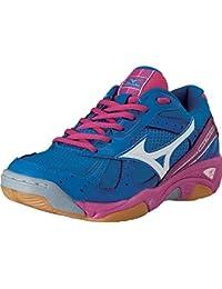 Mizuno - Zapatillas de voleibol de Lona para mujer Azul Blu/Fuxia 38