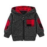 Beikoard Weihnachten Kleidung,Jungen Mädchen Plaid Mit Kapuze Reißverschluss Tops Sweatshirt Warme Mantel Outfits Dünner Mantel