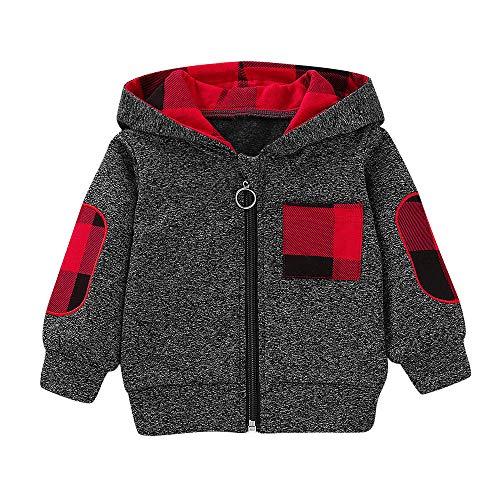 Heligen_Baby Abstand Tops Hosen Outfits Set Jungen Mädchen Plaid Hooded Pullover Tops Sweatshirts Infant Kleinkind