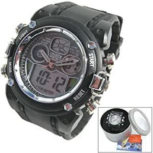 Mens Boys Waterproof Sports Dive Style Watch. Dual Time Boxed Backlight Water Resistant 30M
