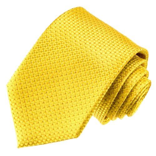 Lorenzo Cana Luxus Krawatte aus 100% Seide - gold gelb goldgelb kleines Karo Muster - 84508 (Kreis-muster-krawatte)
