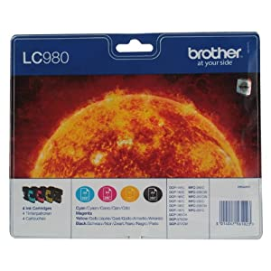 Brother LC980C/LC980M/LC980Y/LC980BK Inkjet Cartridges, Multi Pack, Standard Yield, Cyan, Magenta, Yellow and Black, Brother Genuine Supplies