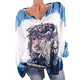 OYSOHE Damen T-Shirt, Spitze Gedruckte Kurzarm V-Ausschnitt Tops Lose T-Shirt Bluse (L, XX-Blau)