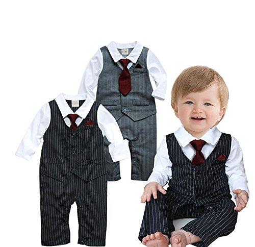 Baby Boy tuta da matrimonio, feste formali smoking Papillon pagliaccetto tuta Black 6 Mesi