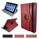 Real Leder Case Cover für Blaupunkt Discovery 1000C/108C 102C/1011WI Tablet Schutzhülle Etui mit Touch Pen & Standfunktion - 10.1 Zoll Leder Rot 360