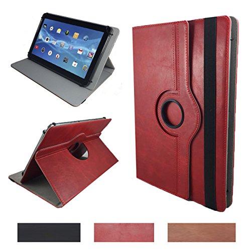 Real Leder Case Cover für Lenovo IdeaPad Miix 310 10ICR Tablet Schutzhülle Etui mit Touch Pen & Standfunktion - 10.1 Zoll Leder Rot 360