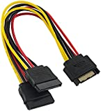 Poppstar 1 x 15 cm S-ATA Y-Stromkabel (Sata 15-Pol, 1x Stecker auf 2X Buchse), Adapter für Stromversorgung für SSD und HDD Festplatte und Laufwerke (Y-Kabel Splitter)
