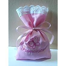 Crociedelizie, Stock 40 sacchetti bomboniere portaconfetti rosa con sangallo con ricamo in fuxia del nome bimba + piccolo ricamociuccio fiocco farfallina orsetto cicogna piedini nascita battesimo