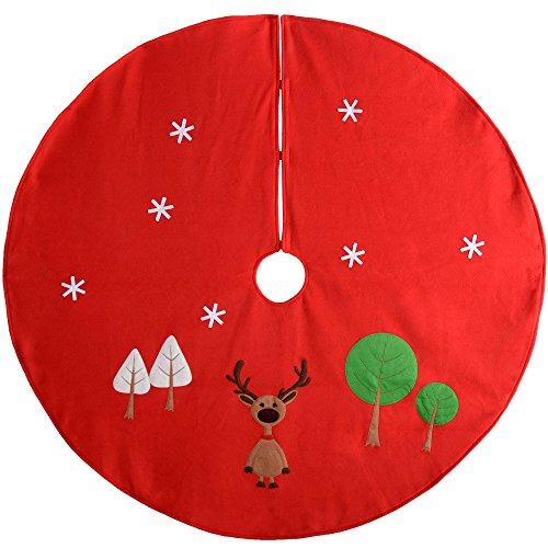WeRChristmas–Figura de reno decoración para base de árbol de Navidad, tela, rojo/multicolor,...