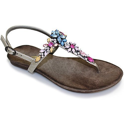 (LUNAR) FANTASIA BOUTIQUE Femme Floral Bijou Strass Fin Lanière Mode Féminine Sandales Tongs Chaussures Étain