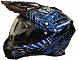 Motorradhelm MX Enduro Quad Helm Schwarz Blau mit Visier und Sonnenblende Gr. M