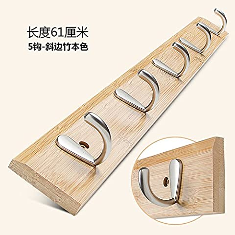 Nan puertas capa de bambú escudo gancho gancho después del muro de pared redes de arrastre ganchos para colgar ropa ganchos dormitorio sala de estar, perchas de bambú naturales nan 5 ganchos del borde biselado)