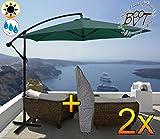 2 Stück PREMIUM XXL Ampelschirm 300 cm, grün 6-teilig, 6 Streben, 3x3m, robustes ca. 200 g/m² Polyester, Sonnenschirm mit Hülle UV50+ KOMPLETT mit Standkreuz, Standfuß + ca. 50 mm Mast, Hängeschirm Sonnendach Überdach, Schirm Strandschirm, stabiler Gartenschirm, klappbarer Sonnenschirm - dunkelgrün grün, Klappschirm mit weichem Stoffbezug-extrem wetterfest, tragbar, Strandschirm, hochwertig robust stabil, Sonnenschutz, stabiler Schirm Klappschirm