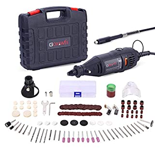 GOXAWEE Rotary Tool Kit, 130W Multi Purpose Electric Die Grinder Set with Keyless Chuck, 140Pcs Accessories, Flex Shaft, Variable Speed for DIY Creations, Cutting, Drilling, Engraving, Polishing