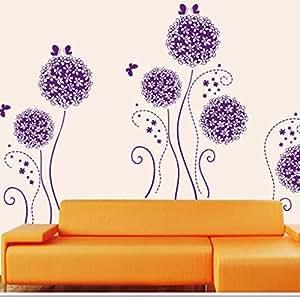"""Wall Sticker, DDLBiz® Adesivi Murales, Carta da Pareti """" fiore viola e la farfalla"""" Decorazione Murali da Parete"""