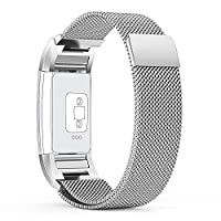 Fitbit Charge 2 Strap (3.5-6.5inch) Small, with Unique Magnet Lock, PUGO TOP® Milanese Loop Stainless Steel Bracelet Strap Band for Fitbit Charge 2 Smart Watch No Buckle Needed (Silver)