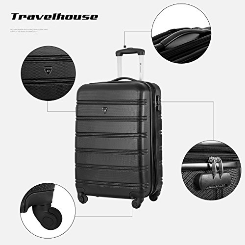 Travelhouse ABS Hard shell 4 wheel Travel Trolley Suitcase Luggage set Holdall Case Cablin (3 PCS, Black)