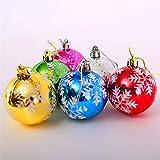 ruikey 6Weihnachtskugeln Christbaumkugeln Kugeln Ornaments mit Schneeflocke Xmas Tree Kunststoff Aufhängen Anhängern für Urlaub Party Dekoration, plastik, bunt, 7cm