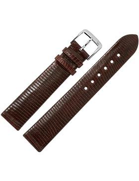 Uhrenarmband 20 mm braun Prägung, Teju (echte Eidechse) mit IRV Artenschutzfahne - MADE IN GER - Ersatzband aus...