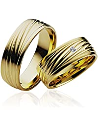 2x alianzas alianzas de anillos de compromiso Amistad Anillo de oro 585* con grabado, funda y 1piedra *