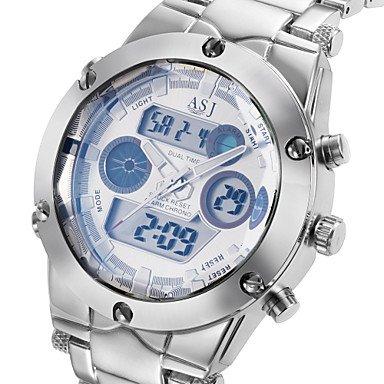 Belles montres, Mode Hommes militaires le sport poignet des montres à quartz double fuseau horaire écran lcd date de zone de journée alarme chronographe ( Couleur : Blanc , Taille : Taille Unique )