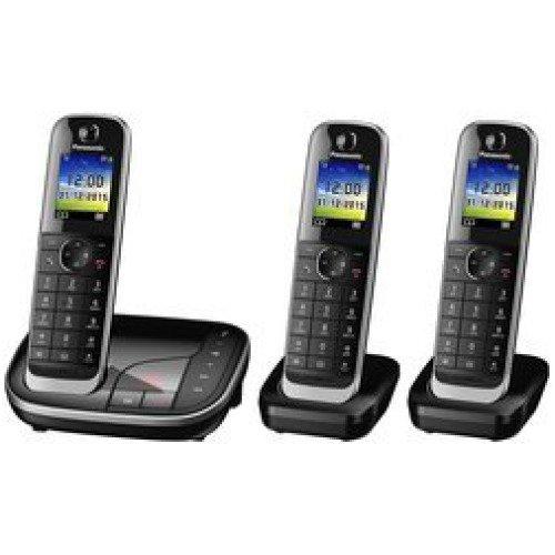Panasonic KX-TGJ323 - Teléfono (Teléfono DECT, Altavoz, 250 entradas, Identificador de llamadas, Servicios de mensajes cortos (SMS), Negro)
