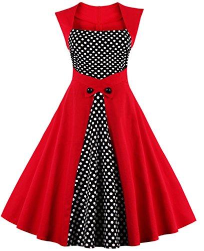 Joansam Frauen Sommerkleid 2016 plus größe kleidung Audrey hepburn F Dot robe Retro Schaukel Casual 50 s Vintage Rockabilly Kleider Vestidos (Rot, EU 42 (Tag (Korsett Grünes Smaragd)