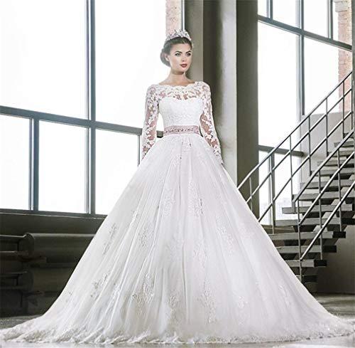 ELEGENCE-Z Hochzeitskleid, Europa und Amerika Sexy weiße Spitze Rosa Bogen Langarm Prinzessin Big Tail Braut Brautkleid Kleid
