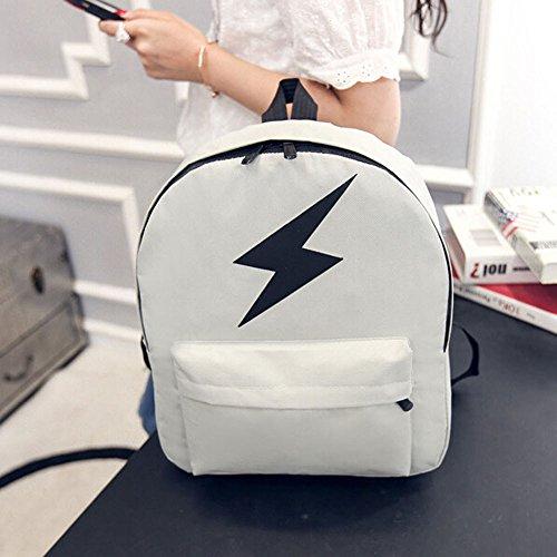 Nuovo Fashion Design,Kword Donne Ragazze Tela Fulmine Stampa Spalla Bookbags Scuola Viaggio Zaino Borsa Bianco