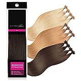 ELEGANCE-HAIR® Bonding Extensions 20x 1g Echthaar-Strähnen Keratin Haarverlängerung 40cm Glatt #2 - Chocolate Brown - Schoko-Braun