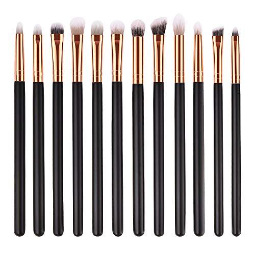 LEXUPE 12 pinceaux de Maquillage en Bois Pinceau de Fard à paupières cosmétiques Outil de Pinceau de mélange de Produits de beauté(Noir,34)