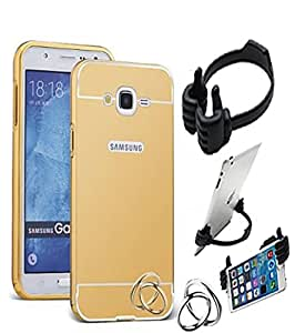Aart Luxury Metal Bumper + Acrylic Mirror Back Cover Case For Samsung G530 Gold+ Flexible Portable Mount Cradle Thumb OK Designed Stand Holder