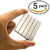 5 Stück Seltenerdmagnete, Super Stark Kräftig Neodym Viereckig Ziegel Magnete-60 x 10 x3mm, für Glas Magnetboards, Magnettafeln