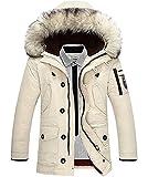Winter Baumwolle Herren Wintermantel mit Pelzkragen Kapuzenjacke  Outdoorjacke Winterjacke Warm Mantel Cremige EU L eb45c355c7