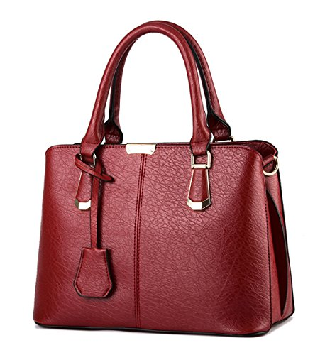 a4770c521713 Alidier New Brand and High Quality Fashion Women s Handbag Tote Purse  Shoulder Bag Fashion Top Handle Designer Bags for Ladies Wine Red