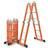 ZR- Aluminium Teleskop/Teleskop-Leiter Multi Purpose Faltbare & Erweiterbare Leiter Mit Stabilisator Bar -Einfach zu lagern und einfach zu tragen (größe : 5.0mm/7.0m = herringbone ladder 3.4m)