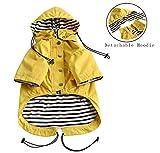 Pethiy Hunde-Regenmantel, modisch, mit Reißverschluss, reflektierende Knöpfe, Taschen, Regen- und wasserabweisend, Verstellbarer Kordelzug, abnehmbare Kapuze, M
