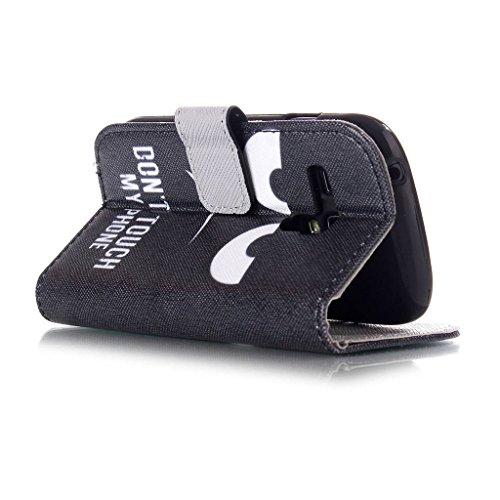 Forepin®Multi-function Wallet Case Kunstlederhülle + Stylus Pen für Apple iPhone 4 /4G/ 4S-Cover Flip Tasche Card Slot PU Leder Handtasche mit Kartenfach und Ständerfunktion in Don't touch my Phone De Galaxy S3 MINI