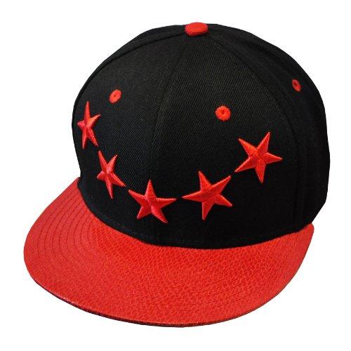 Galaxie 5 étoiles Rouge et Noir Hip Hop Casquette Réglable (5 Star Galaxy Snapback Cap)
