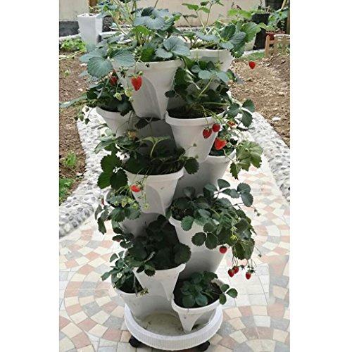 fzn combinazione di multi-strato di fiore tridimensionale supporto vaso di fiori coltivare ortaggi balconi tipi di pentole fragola carnosa ragno pianta pentole sottopentola (colore : #2, stile : b)