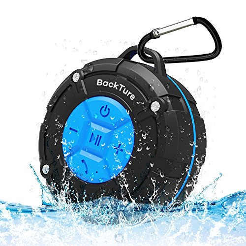 Lautsprecher Wasserdicht Bluetooth Backture Dusche Lautsprecher IPX7 Portable Mini Wireless Outdoor Lautsprecher mit Saugnäpfen, Mikrofon, Freisprecheinrichtung (Blue) …