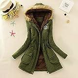 ESAILQ Frau Mantel Kragen Kapuzenjacke Winter Parka Outwear Warm Langer (Large,Armeegrün)