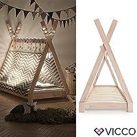 Preisvergleich für Vicco Kinderbett Tipi Kinderhaus Indianer Zelt Bett Kinder Holz Haus Schlafen Spielbett Hausbett 80x160 (Natur)