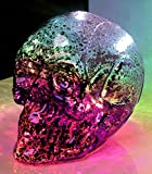 Großer 2-färbiger GLAS-TOTENKOPF mit LED-Beleuchtung