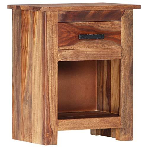 vidaXL Sheesham-Holz Massiv Nachttisch 1 Schublade 1 Ablagefach Nachtkommode Nachtschrank Nachtkonsole Schlafzimmer Kommode 40x30x50cm Palisander