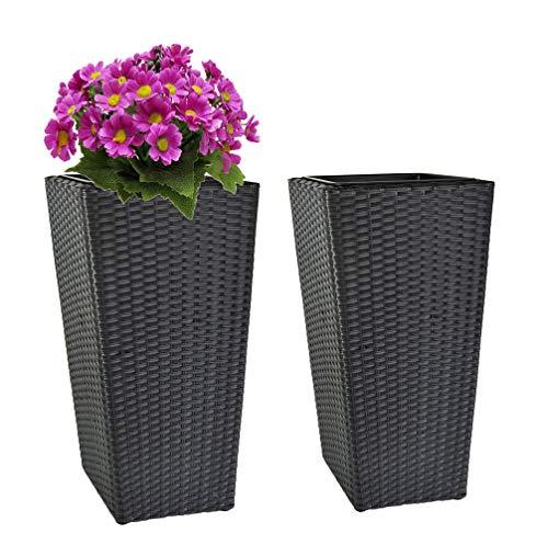 Ks 2 x Polyrattan Terrassentöpfe H 64cm Pflanzentopf Pflanzensäule Blumentopf (Grau)