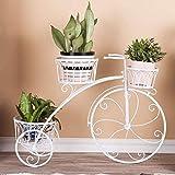 CLX Stockage De Vase De Panier De Fleur De Vélo De Tricycle Support De Fleur en Métal Vélo Porte Plante Décoratif Jardinière Fer Forgé pour Jardin, Terrasse, Véranda Ou Intérieur,Blanc