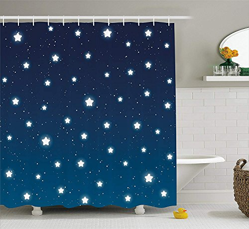 Cute Owl Cartoon Moon Stars Navy Blue Shower Curtain Rug Set Waterproof Polyester Shower Curtain Bath Mat Bathroom Bath Decor Shower Curtains Bathroom Products