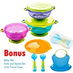 Stay Put and Spill Proof Suction Bowl Set with Bonus Baby Bib & Cutlery, Kidsmile 3 Count Premium Colorful Baby Bowls with Free Soft Toddler Bibs & Fork and Spoon Set - Complete Baby Feeding Set